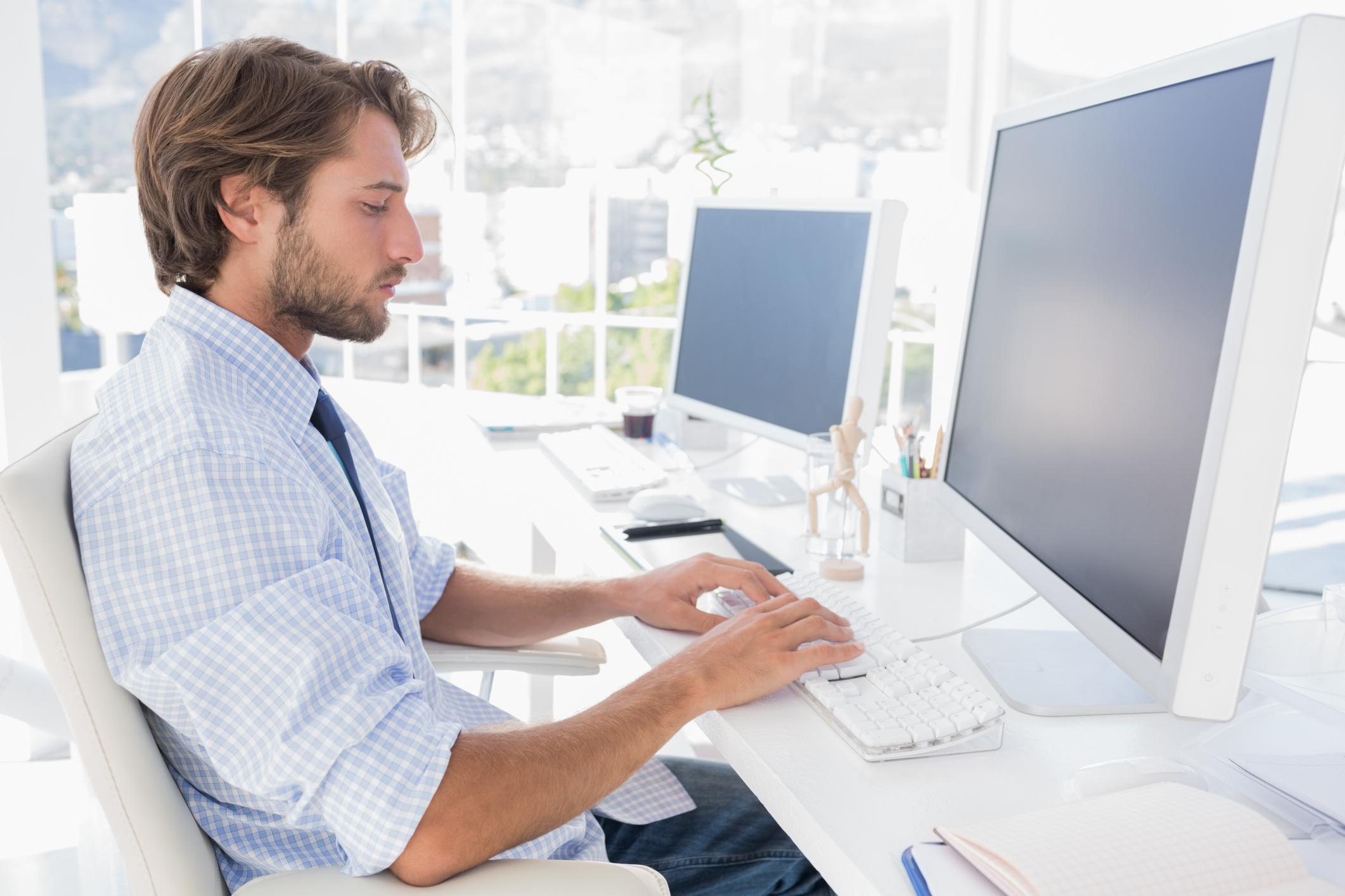 desk, computer, work,