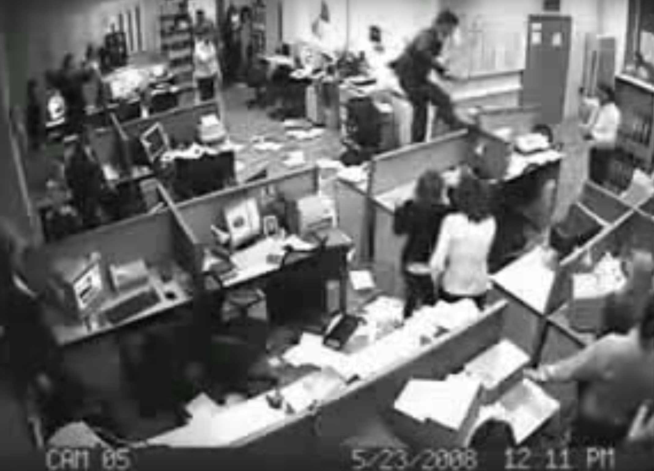 office employee goes crazy